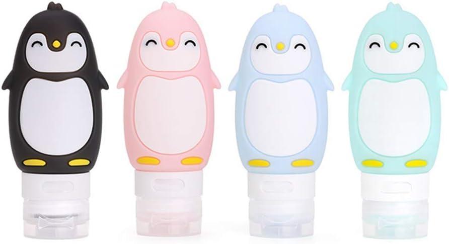 MUUZONING Pingüino Lindo Botellas de Viaje de Silicona, 100% BPA Gratis Recipientes rellenables portátiles a Prueba de Fugas para, Acondicionador,Loción, artículos de tocador(4 * 90ml)