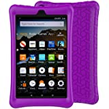 LTROP Tablet Case for All-New Fire HD 8 2018 / 2017 - Light Weight Shock Proof Soft Silicone Kids Friendly Case for All-New Fire HD 8 Tablet (7th Generation, 2017 Release & 8th Generation, 2018 Release),Purple