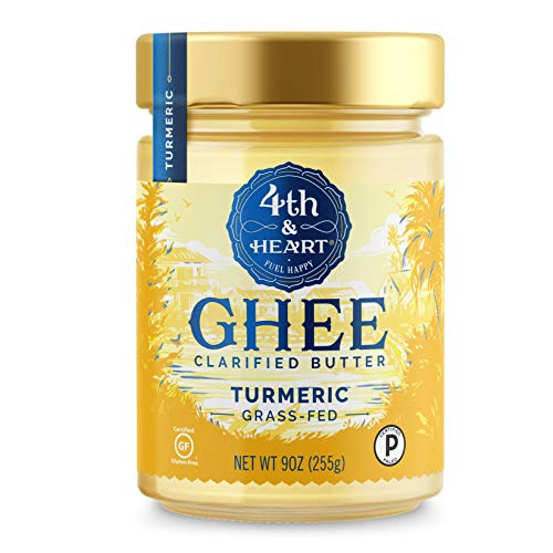 Turmeric Grass-Fed Ghee Butter by 4th & Heart, 9 Ounce, Pasture Raised, Non-GMO, Lactose Free, Certified Paleo, Keto-Friendly