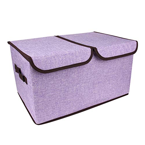 BaoYun 2 Section Storage Boxes with Lids and Handles Fabric Storage Box Cloth Storage Bins Cubes, Foldable Closet Organizer for Nursery, Closet ,Clothes, Toy, Home, Office, Bedroom (Grey) (Purple) ()