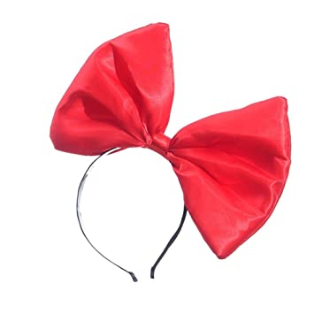380bc24839e Amazon.com   BCDshop Women Large Bow Headband Hairband Ladies Dancing Party  Wedding Club Satin Hair Wrap Headwear (red)   Beauty