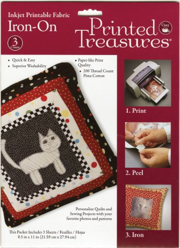 Printed Treasures Inkjet - Dritz Inkjet Printable Fabric, Iron-On, 3 Sheets