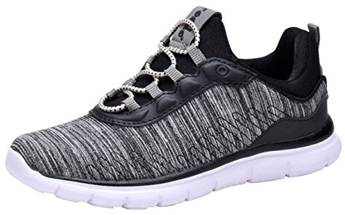 COODO CD6003 Boy's Lightweight Breathable Sneakers Easy Walk Casual Sport Shoes Black/Grey/White-3