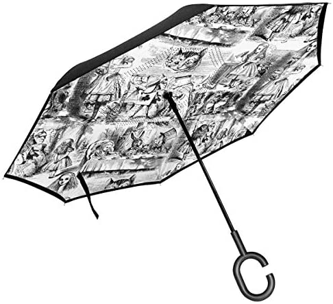好奇心と好奇心が強いAn Alice Toile1 車の逆傘太陽傘折りたたみ傘防風紫外線防止ポータブル速乾性逆傘