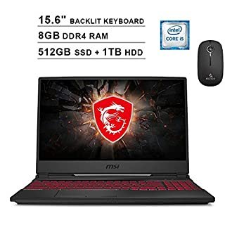 2020 Newest MSI GL65 15.6 Inch FHD 1080P Gaming Laptop (Intel 4-Core i5-9300H, GTX 1650 4GB, 8GB DDR4 RAM, 512GB SSD (Boot) + 1TB HDD, Backlit KB, Win 10) + NexiGo Wireless Mouse Bundle