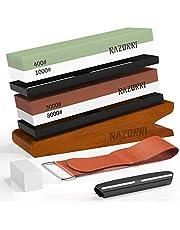 Razorri Set slijpstenen, dubbelzijdig 400/1000 en 3000/8000 grit met aflijnsteen, hoekgeleiding, bamboebasis, leren strepen, voor metalen messen slijpen en polijsten (schuine basis)