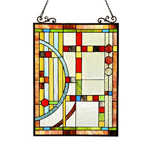 e Tiffany-Glass Window Panel 17.5x25 ()