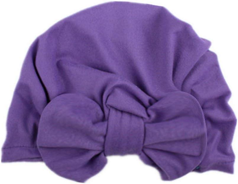 Enfants B/éb/é Filles Boho /À Tricoter Chapeau Beanie /Écharpe Turban T/ête Capuchon 19.5 17.5cm Violet 1pc Ogquaton Qualit/é Premium Produits De Beaux Belle Bowknot Bonnets Tricot/és