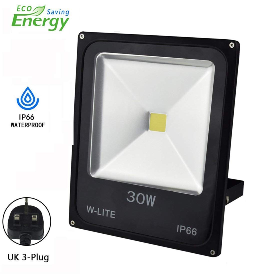50W Led Outdoor Flood Lights Garden, Waterproof Outside Security Floodlights Fitting for Garden/Yard/Lawn/Patio/Porch, Aluminum, 6000K Soft Daylight, Full Power 350W Equivalent, 86-265V Input(with UK 3-Plug) W-LITE