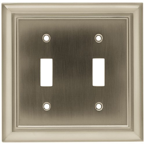 BRAINERD 64208 Architectural Double Toggle Switch Wall Plate / Switch Plate / Cover satin nickel