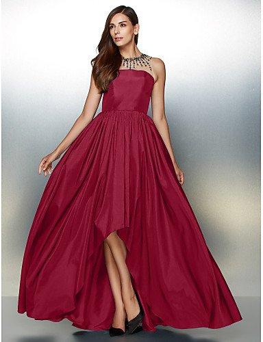 Formal De Tafetán De HY Cuello Una Noche De Detallando Vestido amp;OB Crystal Línea Prom Asimétrica Con Burgundy Joya xCPYwOqCSz