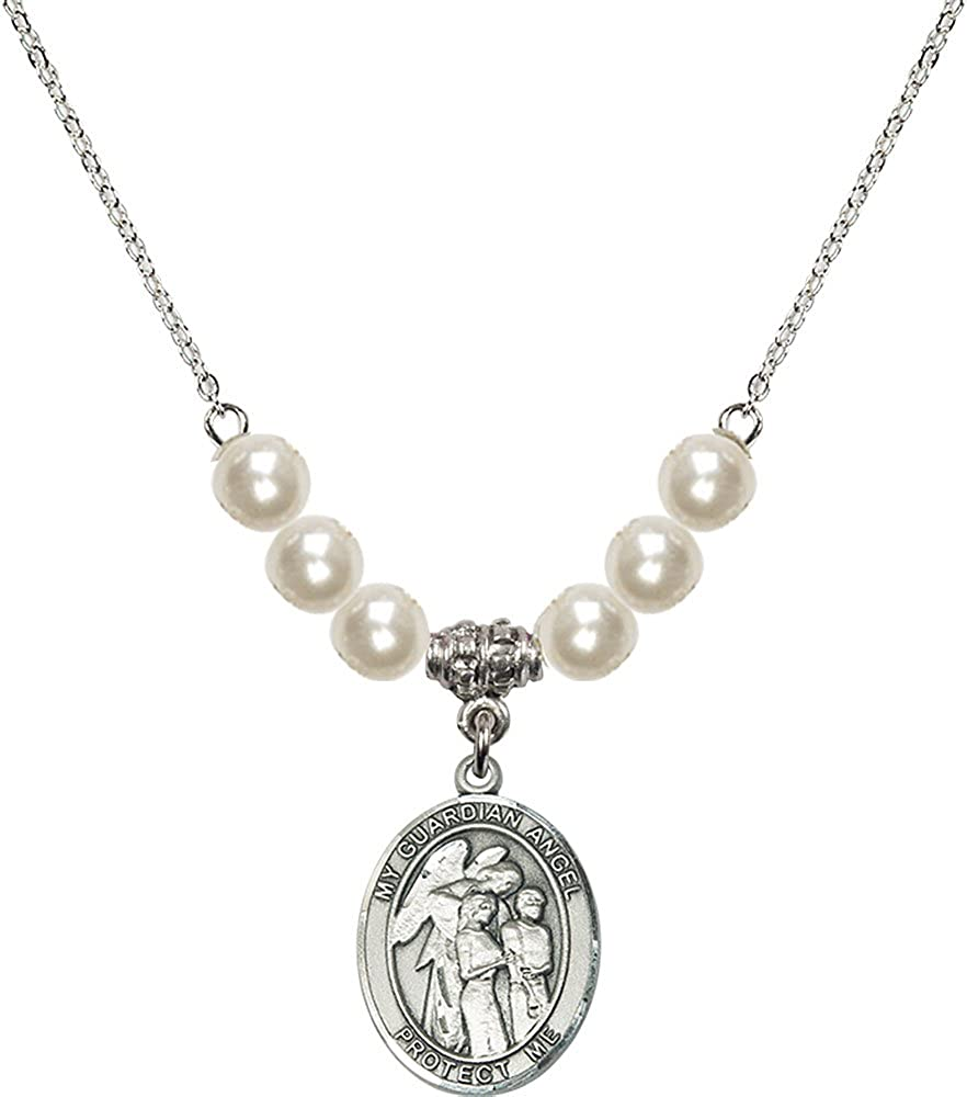 18-Inch Rhodium Plated Necklace with 6mm Faux-Pearl Beads and Sterling Silver Guardian Angel w//Children Charm.