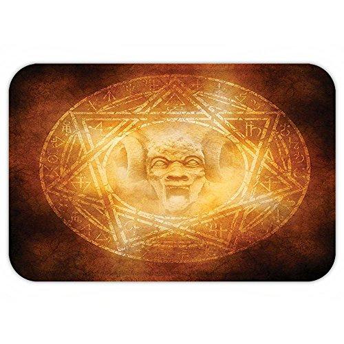 VROSELV Custom Door MatHorror House Decor Demon Trap Symbol Logo Ceremony Creepy Ritual Fantasy Paranormal Design Orange by VROSELV