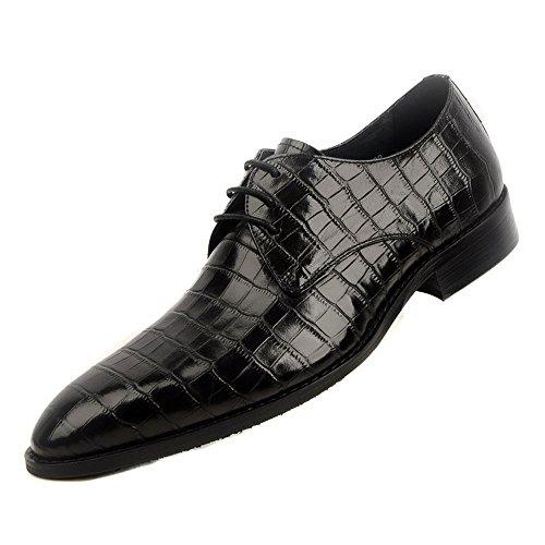 Fulinken Heren Zwarte Lether Oxfords Schoenen Derby Jurk Schoenen Lace-up Brogue Schoenen Formele Kleding Schoenen