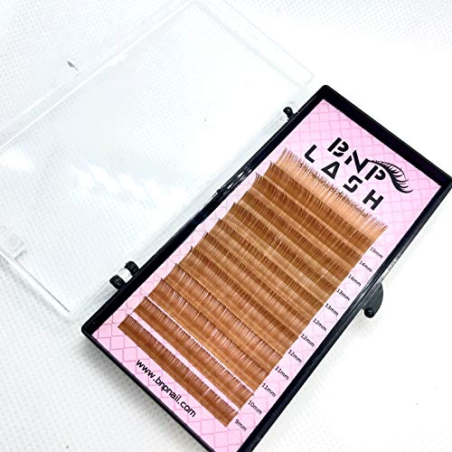 (BNP Curl C 0.10 9-15mm Mix Trays Brown Volume Eyelash Extension Silk Antibicterial Lash 3 Colors (Light Brown (Caramel)))