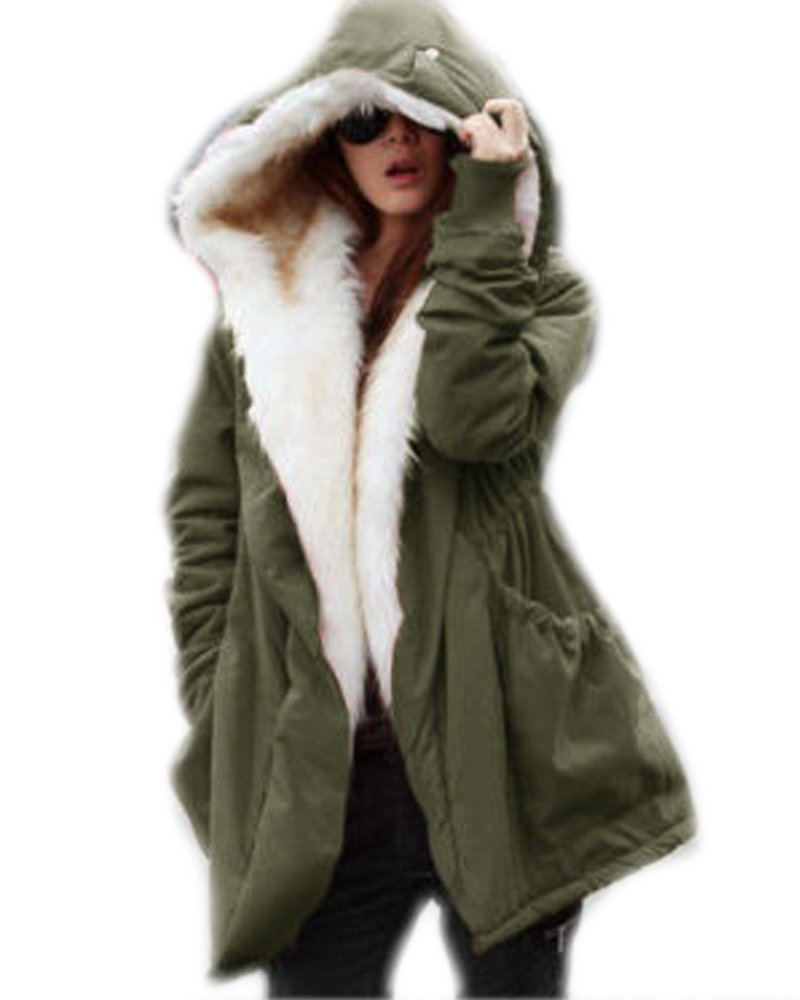 Roiii Women Thicken Warm Winter Coat Hood Parka Overcoat Long Jacket Outwear,Amry Green,X-Large