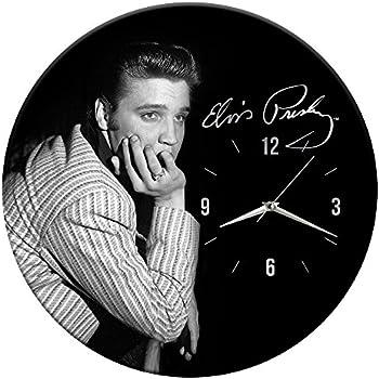 Vandor Elvis Presley 13.5 Inch Cordless Wood Wall Clock, 13.5 x 1.5 x 13.5 Inches, Black/White (47189)