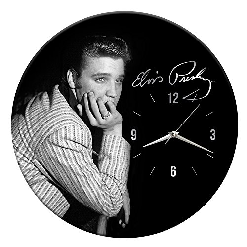 Vandor Elvis Presley 13.5 Inch Cordless Wood Wall Clock, 13.5 x 1.5 x 13.5 Inches, Black White 47189