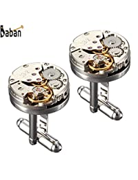 BABAN 2 PCS Watch Movement Cufflinks for Mens Silver Steampunk Vintage with a Gift Box
