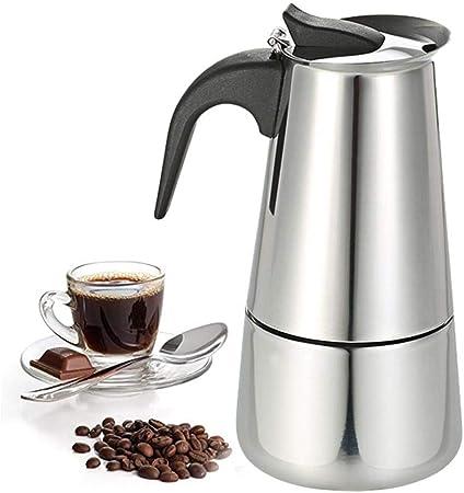Cafetera exprés para estufa, olla Moka de acero inoxidable, cafetera italiana Percolator, para placa de inducción, 2 tazas 100 ml / 4 tazas 200 ml: Amazon.es: Hogar