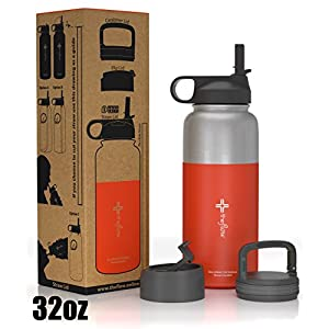 The Flow Stainless Steel Water Bottle, Double Walled/Vacuum Insulated - BPA/Toxin Free – Wide Mouth with Straw Lid (Stainless Red)
