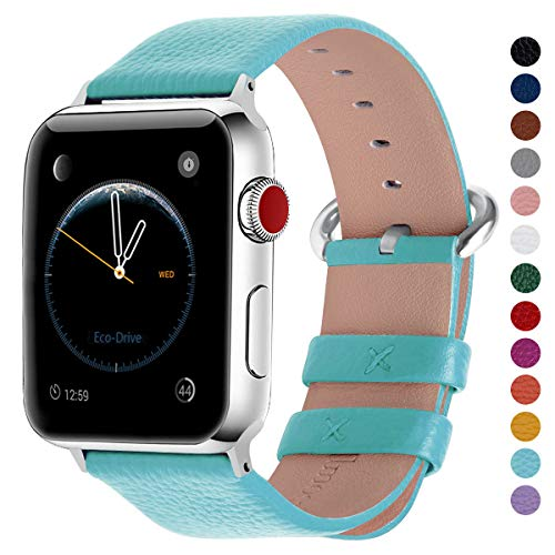 (Fullmosa Compatible Apple Watch Band 38mm 40mm 42mm 44mm Calf Leather Compatible iWatch Band/Strap Compatible Apple Watch Series 4 Series 3 Series 2 Series 1,38mm 40mm Sky Blue)