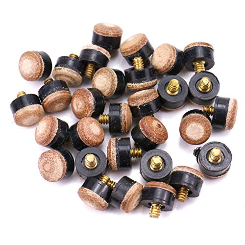 Monrocco 30PCS 12mm Hard Leather Billiards Pool Cue Stick Screw-on Tips Replacement