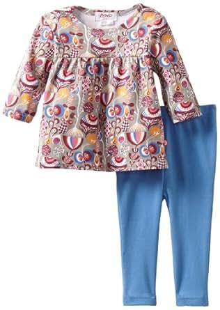 Zutano Baby Girls' Peacock Peasant Top And Legging Set, Multi, 12M