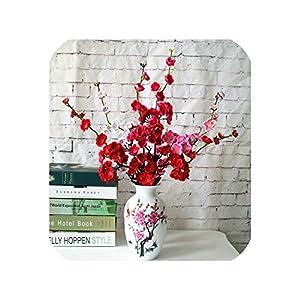 meiguiyuan 1pc 56cm Artificial Flower Cherry Spring Plum Peach Blossom Branch Silk Fake Flower for Wedding Party Home Garden DIY Decoration 84