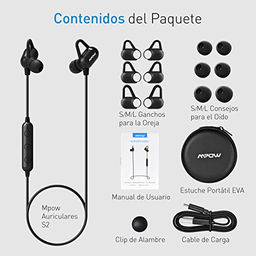 Mpow S2 Auriculares Bluetooth Deportivos, APTX Auriculares Inalámbricos con Tecnología IPX7 Ruido de Cancelación CVC 6.0 In ear con Manos Libres Auricular ...
