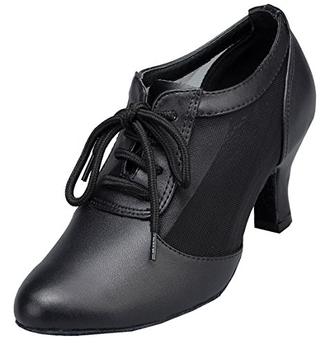 Wedding Latin Ballroom Fashion up Mesh Tango Heel Womens Salsa Dance Shoes TDA Lace Leather Modern Black Mid O458gx7w