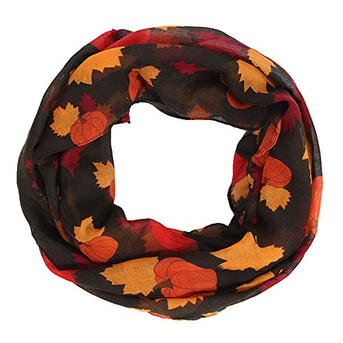 XlalaMerry ChristmasFashion Women Pumpkin Maple Chiffon Long Soft Wrap Scarf ThanksgivingDecoration (Black) (Hat Balinese)