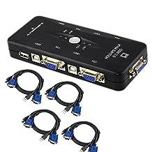 REDGO 4 Ports 2.0 USB KVM VGA Switch Box Adapter Kit for PC Keyboard Mouse Monitor Printer + 4 USB VGA Cables