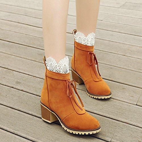 Latasa Kvinna Spets Chunky Klack Boots Med Dragkedja Bak Mörkgul