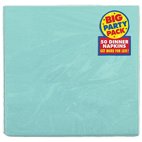Amscan 2-Ply Robin's Egg Blue Dinner Napkins, 50 Ct. | Party Tableware