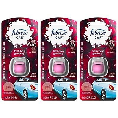 Febreze Car Vent Clip Air Freshener - Fresh-Twist Cranberry - Holiday Collection 2020 - Net Wt. 0.06 FL OZ (2 mL) Per Vent Clip - Pack of 3 Vent Clips: Health & Personal Care