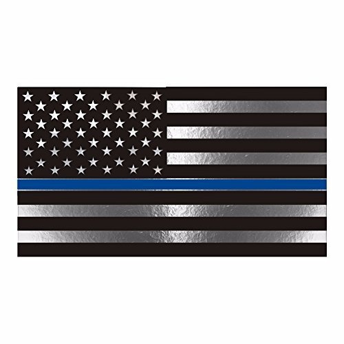 - Thin Blue Line Flag Metallic Reflective Decal