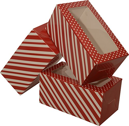 Mini Treat cookie Boxes; rectangular with clear window; 8 - 3 packs; 24 foldable boxes (Red & White Stripe) -