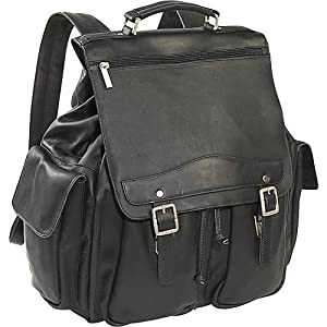 Cape Cod Leather Mountain Premium Leather Backpack (Black)