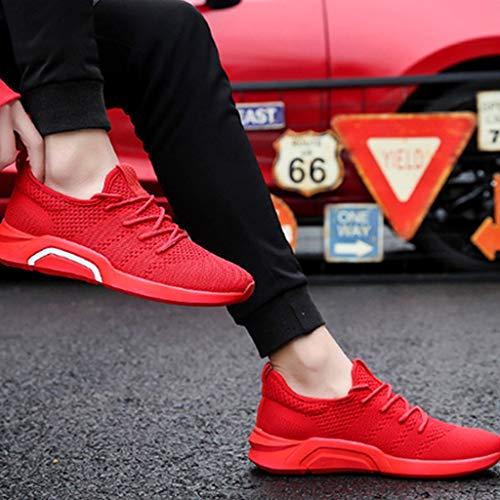 de WangKuanHome de de Zapatos Gray Zapatos Lona Tendencia Casual Hombres Zapatos Color Red Salvaje Transpirables Size Hombres de Verano los 40 0grI4gqx