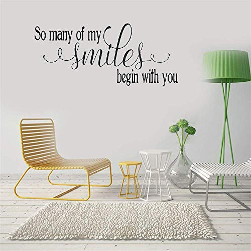 Qoers Vinyl Wall Statement Family DIY Decor Art Stickers Home Decor Wall Art So Many of My Smiles Begin with You for Bedroom Nursery Kids ()