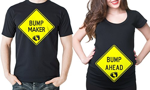 Bump Ahead Couple Maternity Shirts Gift for New dad and Mom Bump Maternity Tee Men Medium - Women Medium by Silk Road Tees