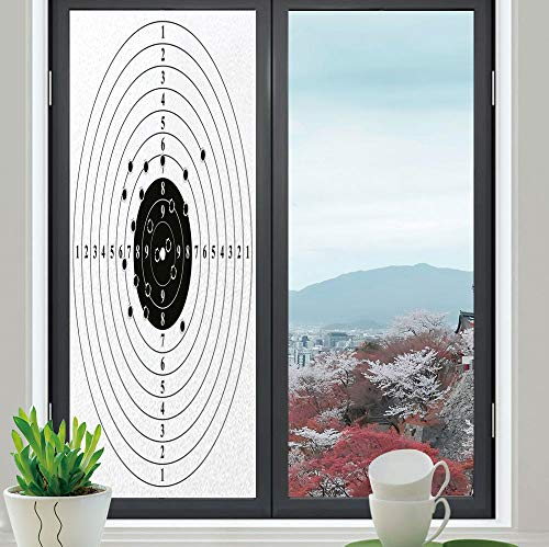 ss Window Film,Black and White,for Bathroom Shower Door Heat Cotrol Anti UV,Target Numbers and Bullet Holes Shooting Polygon Gun,24''x70'' ()