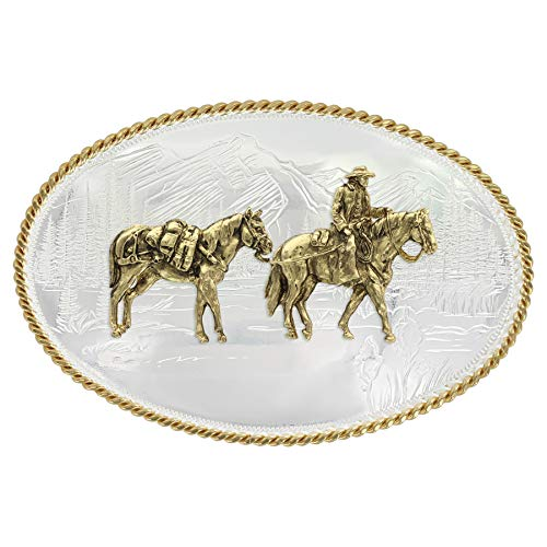 Montana Silversmiths Etched Mountains Western Belt Buckle with Pack Horse and Rider (6250-35)
