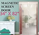Linkhome Transparent Magnetic Screen Door 34'×82' Curtain Prevent Air Conditioning Loss Help Saving Electricity & Money,Enjoy Warm Winter,Thermal and Insulated Auto Closer Door Curtain