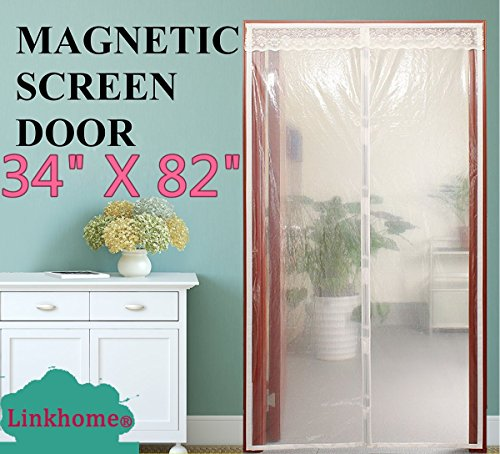 Linkhome® Transparent Magnetic Screen Door 34''×82'' Curtain Prevent Air Conditioning Loss Help Saving Electricity & Money,Enjoy Warm Winter,Thermal and Insulated Auto Closer Door Curtain by Linkhome®