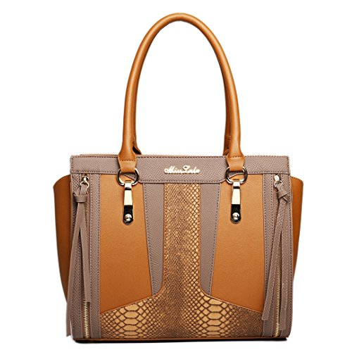 Brown Leather Lulu Shoulder Contrast Structured Brown Miss Look Bag Snakeskin Brown qPTw5xzY