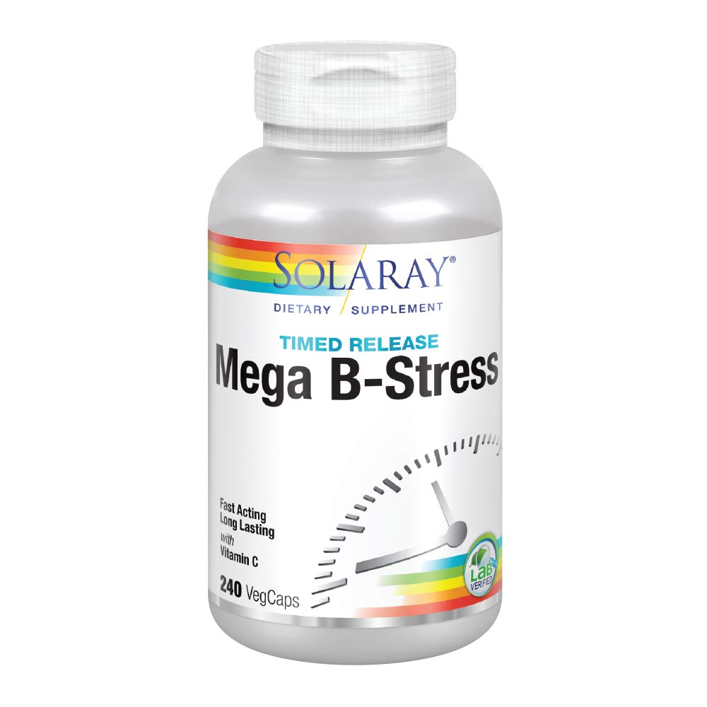 Solaray® Mega Vitamin B-Stress, Two-Stage Timed-Release | Specially Formulated w/ B Complex Vitamins for Stress Support | Non-GMO | Vegan | 240 Tabs by Solaray