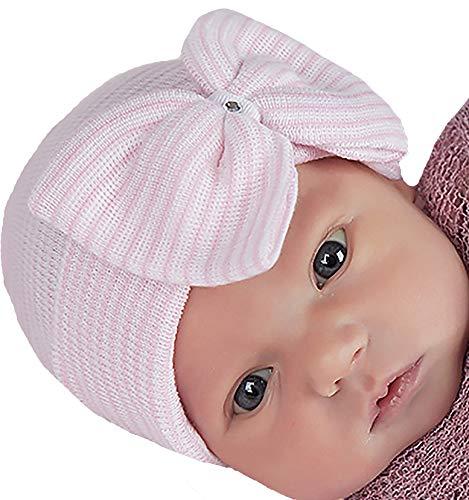 Melondipity Pink & White Striped Nursery Big Bow with Gem Newborn Girl Hospital Hat