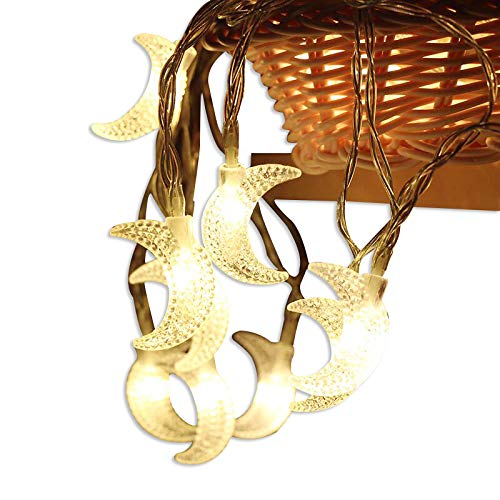 AceList 40 LED Ramadan Original Moon String Lights for Outdoor, Gardens, Homes, Wedding, Christmas Party and Holiday Decor